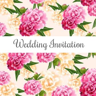 Ślubna zaproszenie karta z różowymi i białymi peoniami w tle.