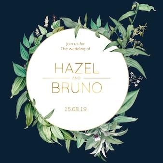 Ślubna zaproszenie karta z zielonym liścia projekta wektorem