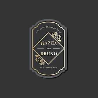 Ślubna zaproszenie majcheru etykietka na czarnym wektorze