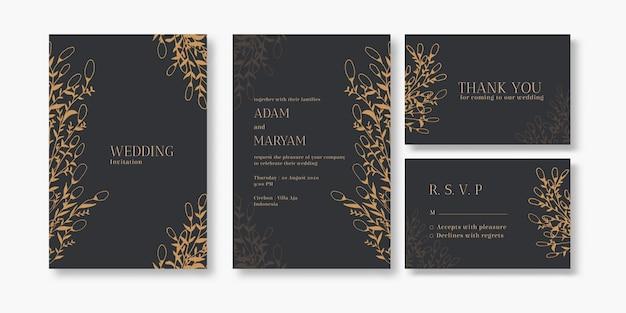 Ślubna zaproszenie pokrywy karty set z piękno jagodowego i kwiecistego abstrakcjonistycznego ręka rysującego doodle ornamentu stylu dekoraci tła mockup eleganckiego szablonu rocznika ilustracyjną ramą