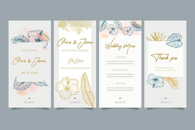 Ślubne historie na instagramie z kwiatowymi ornamentami
