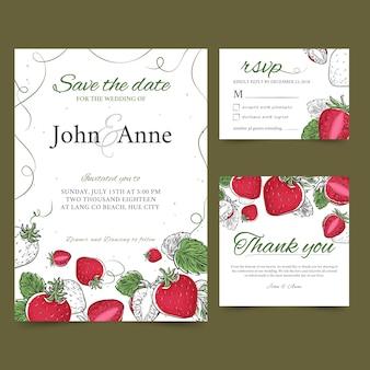 Ślubne karty owoców truskawek