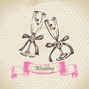 Ślubne kieliszki do wina. ręcznie rysowane ilustracja