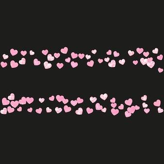 Ślubne konfetti brokatowe z sercami na na białym tle z tyłu. błyszczące losowo opadające cekiny z cekinami. projekt z różowym brokatem ślubnym na zaproszenie na przyjęcie, baner, kartkę z życzeniami, wieczór panieński.