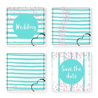 Ślubne konfetti w paski. zestaw zaproszeń. różowe serca i kropki na miętowym i białym tle. zaprojektuj z konfetti ślubne na imprezę, imprezę, wieczór panieński, zapisz kartę z datą.