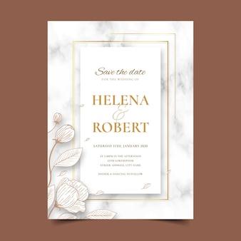 Ślubne marmurowe karty szablon z kwiatami