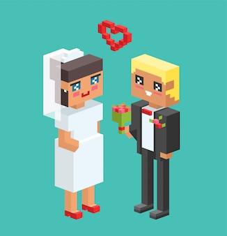 Ślubne pary kreskówki stylu wektoru ilustracja