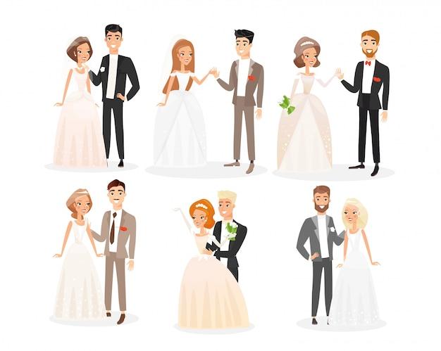 Ślubne pary płaski zestaw ilustracji. paczka postaci z kreskówek pary młodej. ceremonia zaręczynowa. kobieta w białej sukni ślubnej z welonem i mężczyzna w świątecznym stroju. kolekcja dla nowożeńców.