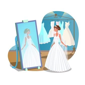 Ślubne przygotowania płaski plakat koncepcja
