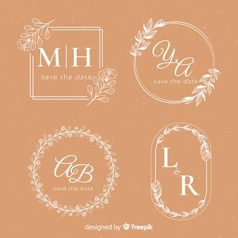 Ślubne ręcznie rysowane szablon logo kwiatowy