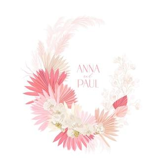 Ślubne suszone lunaria, orchidea, wieniec kwiatowy z trawy pampasowej. wektor egzotyczne suszone kwiaty, liście palmowe boho zaproszenia. akwarela szablon ramki, ozdoba liści, nowoczesny plakat, modny design