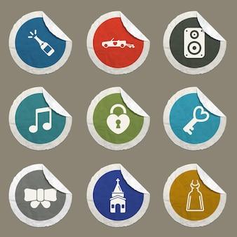 Ślubne wektorowe ikony dla stron internetowych i interfejsu użytkownika