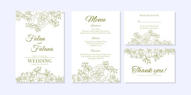 Ślubne zaproszenia karty z doodle szkic zarys kwiatowy i kwiat ozdobnych szablon stylu
