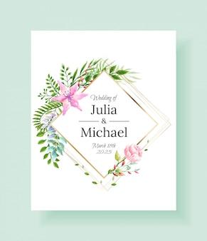 Ślubne zaproszenia ramki zestaw kwiaty, liście, akwarela