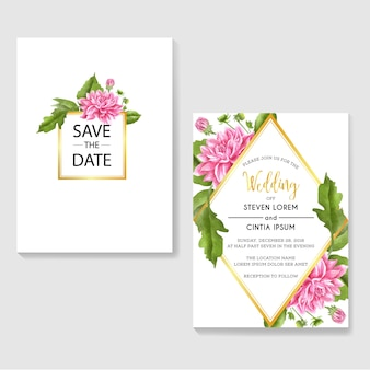 Ślubne zaproszenia z różowym dalii akwareli tłem
