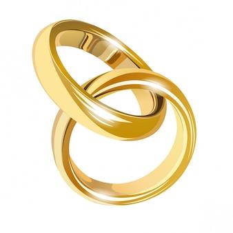 Ślubne złote pierścienie na białym tle