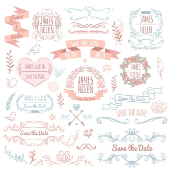 Ślubni retro wektorowi elementy dla zaproszenie karty. rustykalny kwiatowy elegancki design i ozdoby. ślubne zaproszenie retro elementy ilustracja