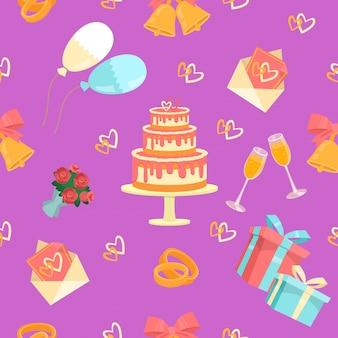 Ślubny bezszwowy wzór z pierścionkami, tortem i dzwonami