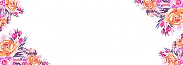 Ślubny kolorowy kwiecisty sztandaru szablon na bielu