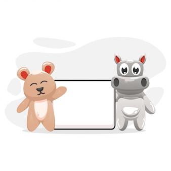 Ślubny niedźwiedź i hippo z kartonem na białym kartonie
