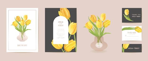 Ślubny nowoczesny kwiat tulipan zapisz zestaw daty. wektor minimalna wiosna kwiatowy zaproszenie karty. realistyczna rama szablonu, okładka z liści, letnie tło, modny design, luksusowa broszura