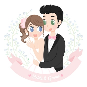 Ślubny para charakter z kwiecistą ramą
