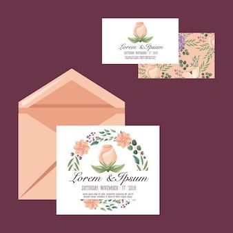 Ślubny samochód lub zaproszenie kwiat romantyczny szablon