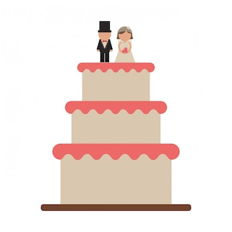 Ślubny tort z fornalem i panną młodą
