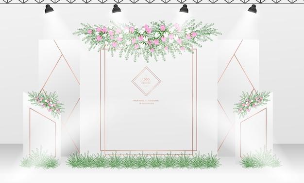 Ślubny wzór tła photocall z motywem koloru białego i różowego złota.
