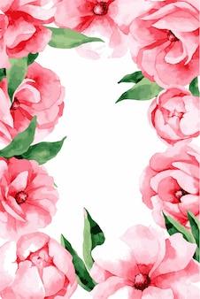 Ślubny zaproszenie karty szablon z różowymi wiosna kwiatami, ilustracja.