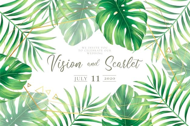 Ślubny zaproszenie szablon z tropikalnymi liśćmi