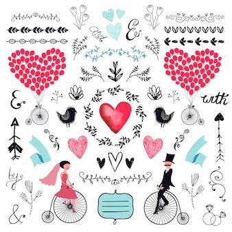 Ślubny zestaw graficzny strzałki serca wieńce laurowe wstążki i etykiety