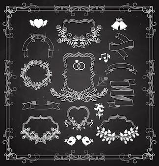 Ślubny zestaw grafiki wektorowej z wieńcami, ramkami i wstążkami, sercami, dzwonkami i ptakami jako elementy projektu dla kart okolicznościowych i zaproszeń w kolorze białym na czarnym