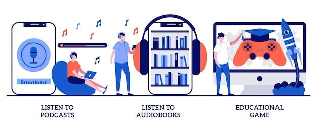 Słuchaj podcastów i książek audio, koncepcja gry edukacyjnej z małymi ludźmi. zasoby edukacyjne streszczenie wektor zestaw ilustracji. audycja radiowa, aplikacja internetowa, metafora grywalizowanego systemu uczenia się.