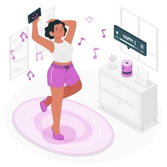 Słuchanie ilustracji koncepcji szczęśliwej muzyki
