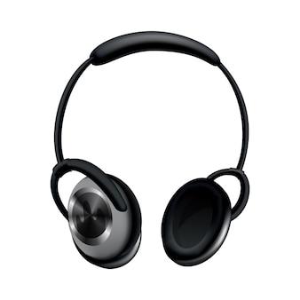 Słuchawki. czarna słuchawka muzyczna lub zestaw słuchawkowy do gier.
