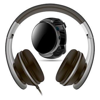 Słuchawki i inteligentny zegarek na białym tle. pusty