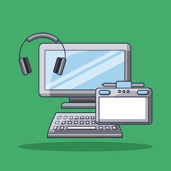 Słuchawki i urządzenie komputerowe