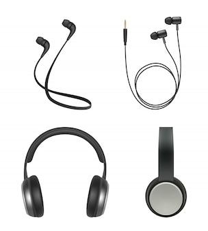Słuchawki realistyczne. słuchawki muzyczne akcesoria elektroniczne przedmioty wektor zbiory