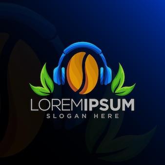 Słuchawki z nowoczesną koncepcją projektowania logo z ziaren kawy i liści