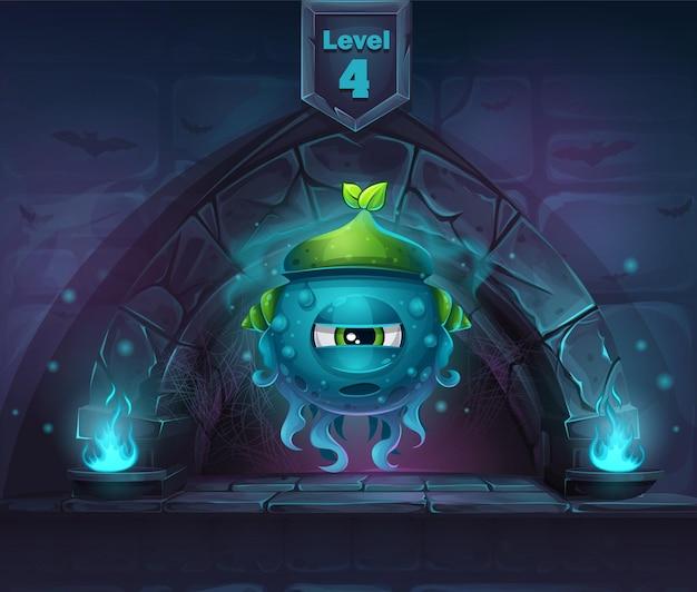 Slug magic na następnym 4 poziomie. w przypadku sieci, gier wideo, interfejsu użytkownika, projektowania