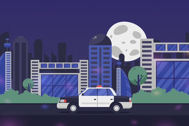 Służba bezpieczeństwa samochód policyjny w nocy mieście, ilustracja. awaryjna usługa przeciwko przestępstwom, utrzymanie zgodności z prawem