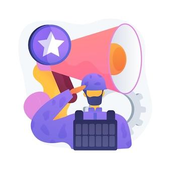 Służby specjalne. postać z kreskówki mężczyzna w mundurze wojskowym, hełmie i kamizelce kuloodpornej. jednostki wojskowe, operacja specjalna, wojsko. zwalczanie terroryzmu.