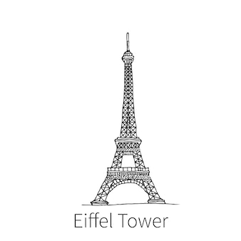Słynna wieża eiffla rysunek szkic ilustracji we francji. ilustracja wektorowa