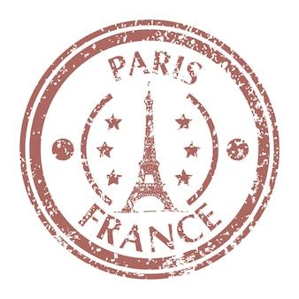 Słynna wieża eiffla w paryżu na znaczku pocztowym grunge. ilustracja wektorowa