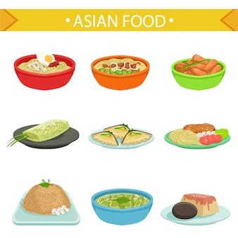 Słynne dania kuchni azjatyckiej zestaw ilustracji
