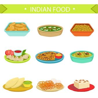 Słynne dania kuchni indyjskiej zestaw ilustracji