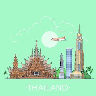 Słynne showplaces tajlandii liniowy styl ilustracji wektorowych.