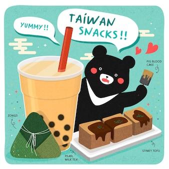 Słynne tajwańskie przekąski i wielki czarny niedźwiedź