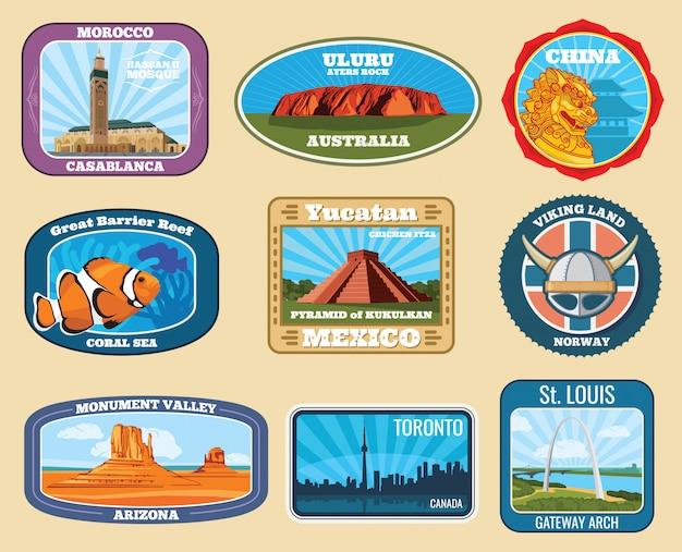 Słynne zabytki i narodowe zabytki etykiety podróżnicze retro
